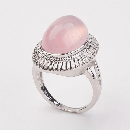 Rosa kalsedon oval ring